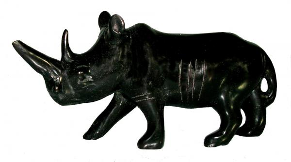 African soapstone black rhino sculpture carving kenya