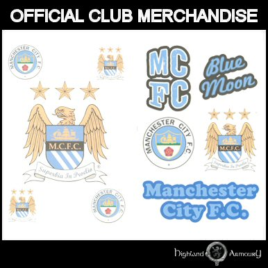 manchester city football club tattoo pack official new ebay. Black Bedroom Furniture Sets. Home Design Ideas