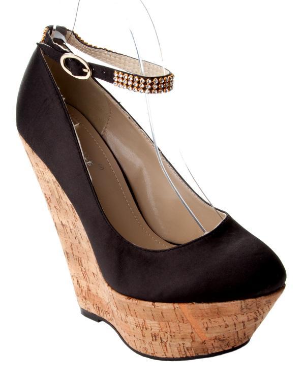 womens black satin high heel platform wedge diamante