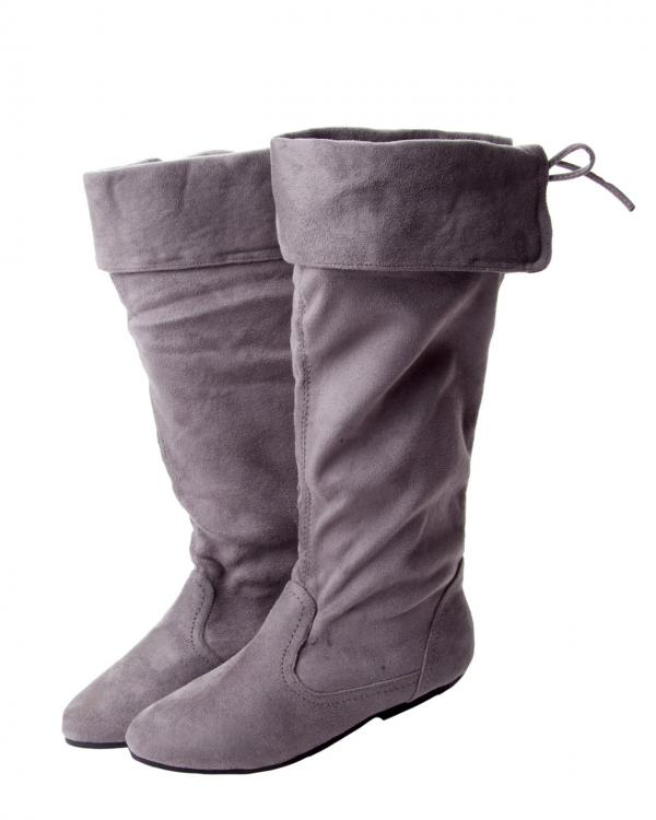 womens grey suede cuff slouch mid calf flat low heel boots
