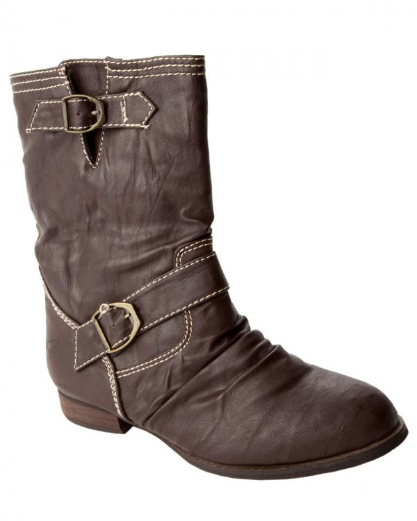 womens brown slouch pull on low heel high ankle boots