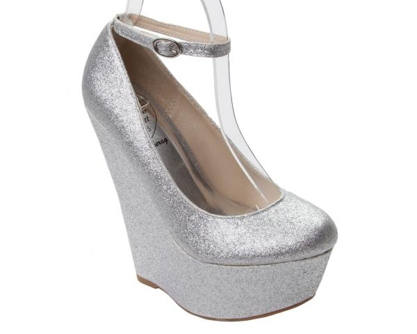 WOMENS SILVER GLITTER PARTY WEDDING PLATFORM WEDGE SHOES LADIES UK SIZE 3 8