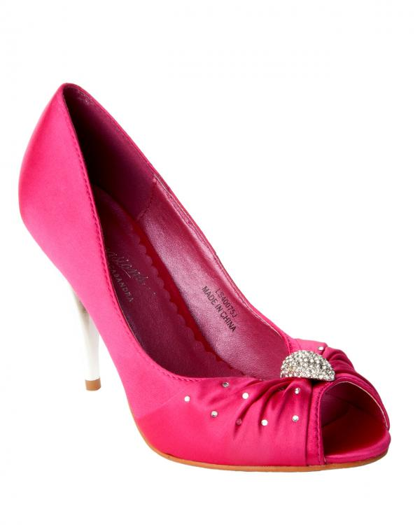 womens fuschia pink satin bridesmaid wedding evening