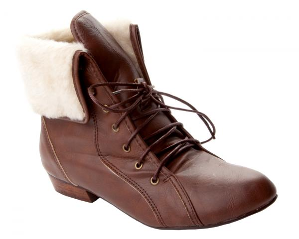 womens brown pixie fur cuff low heel lace up ankle boots
