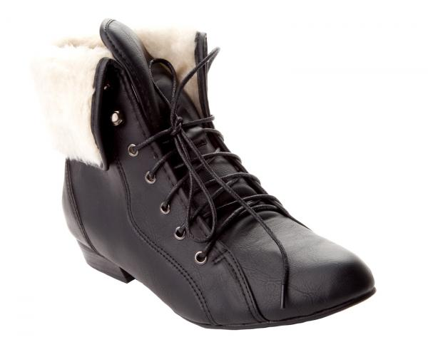 womens black brown pixie fur cuff low heel lace up ankle