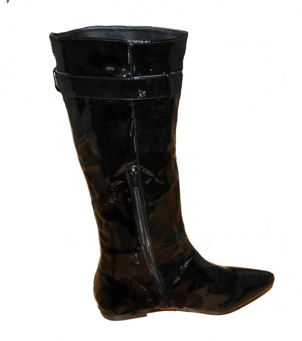 womens black patent slouch buckle flat knee length boots